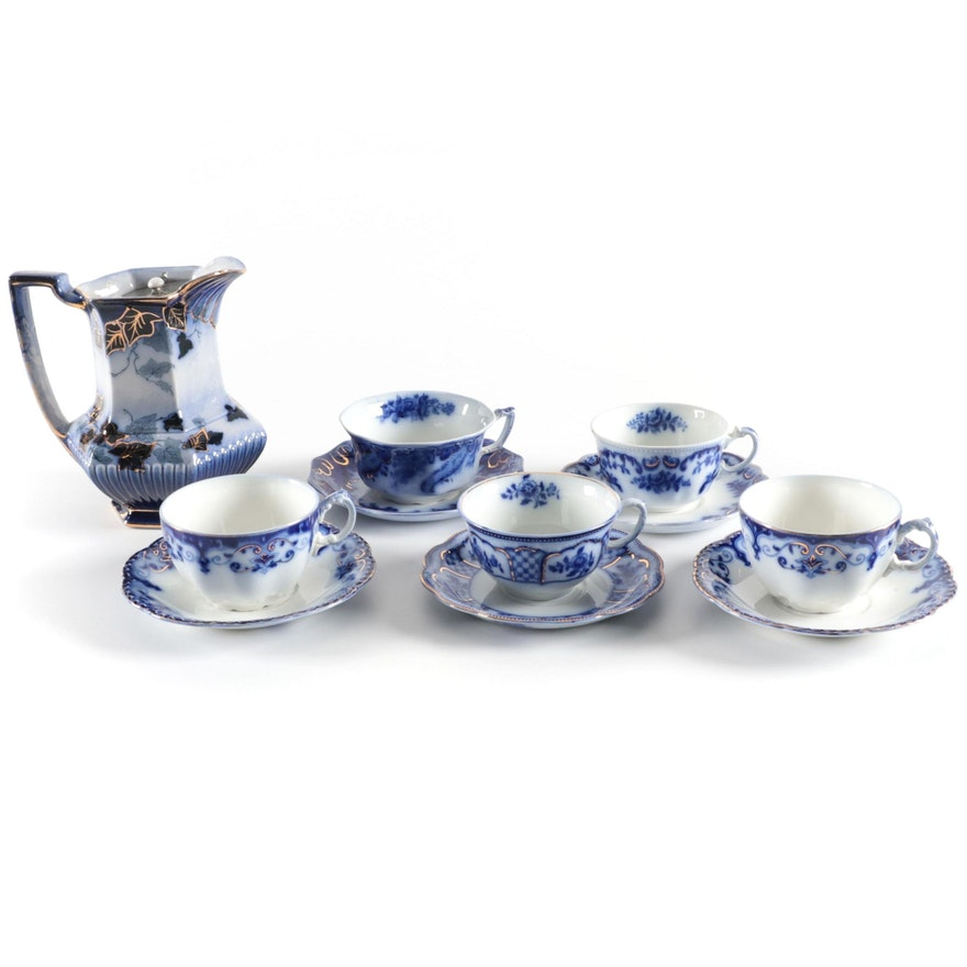 """Johnson Bros. """"Jewel"""" with Other Flow Blue Teacups and Milk Jug"""