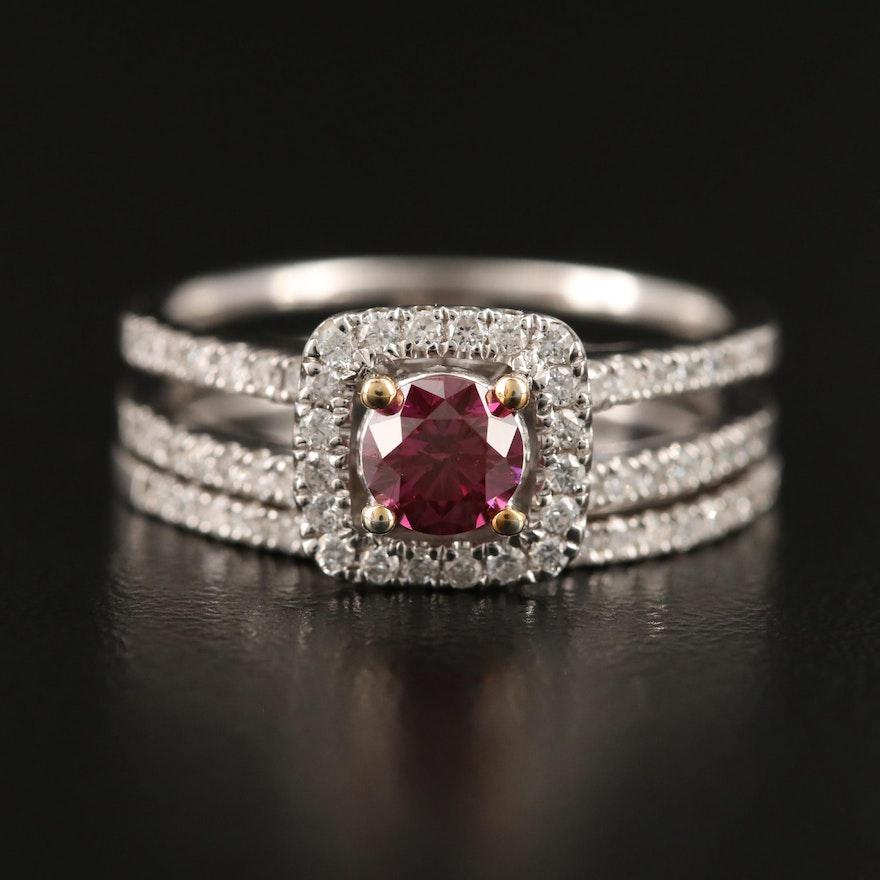 18K Purple Diamond Ring Set
