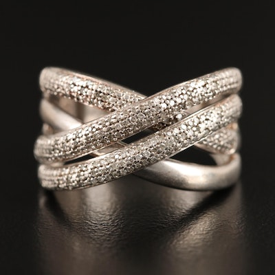 Sterling Silver Diamond Double Crossover Ring
