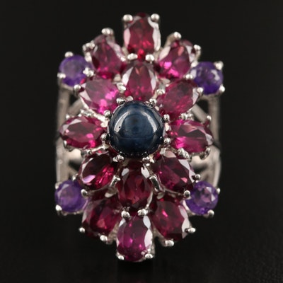 Sterling Silver Star Sapphire, Amethyst and Garnet Ring