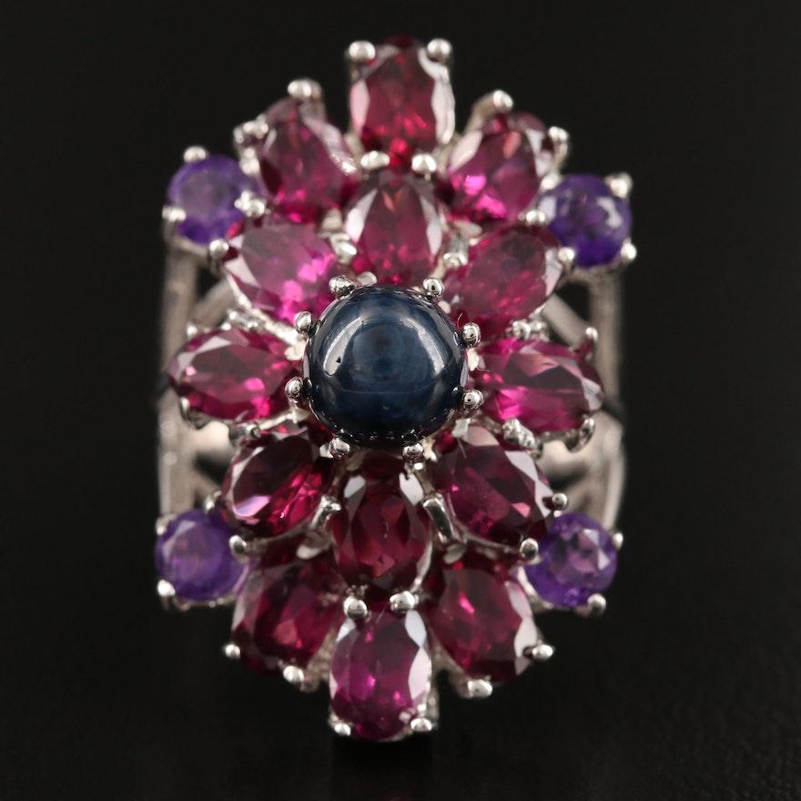 Sterling Silver Star Sapphire, Amethyst and Garnet Ring