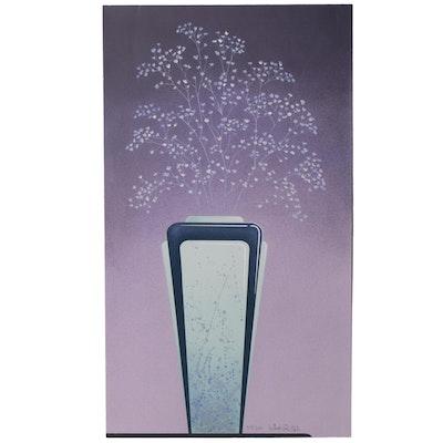 """William Todd Haile Serigraph """"Mint Vase,"""" 1985"""