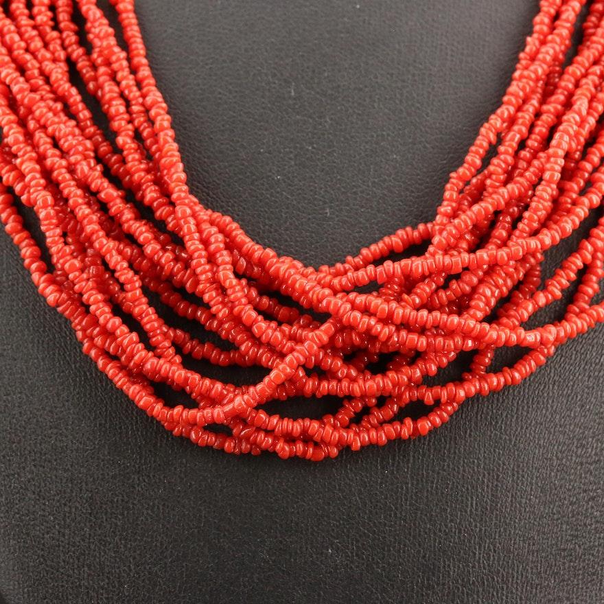 Multi-Strand Coral Necklace