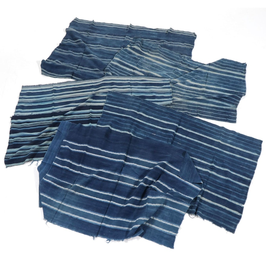 West African Handwoven Indigo-Dyed Cotton Textile Wrappers