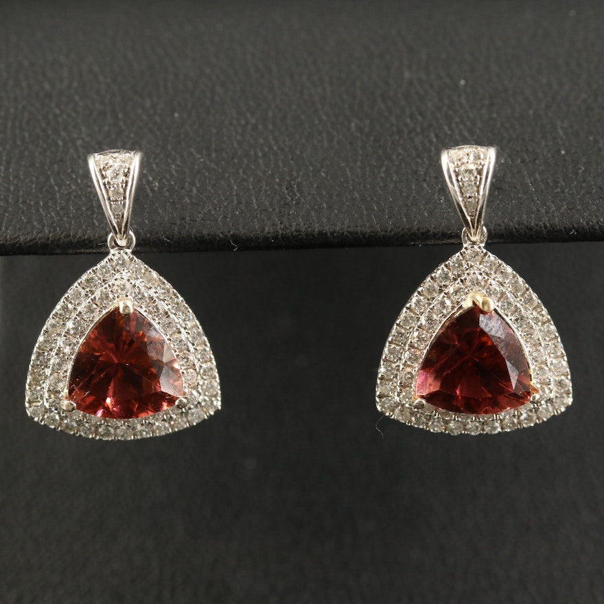 14K Tourmaline and Diamond Triangular Dangle Earrings