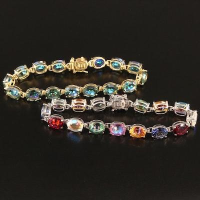 Sterling Silver Quartz Link Bracelets Featuring Mystic Quartz
