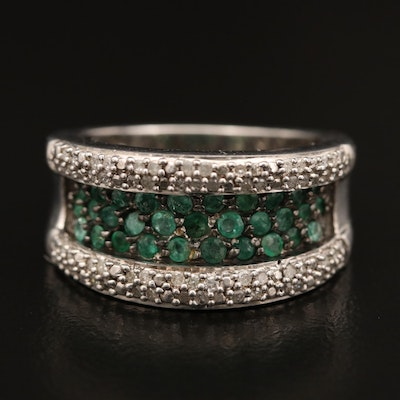 Sterling Silver Emerald and Diamond Band