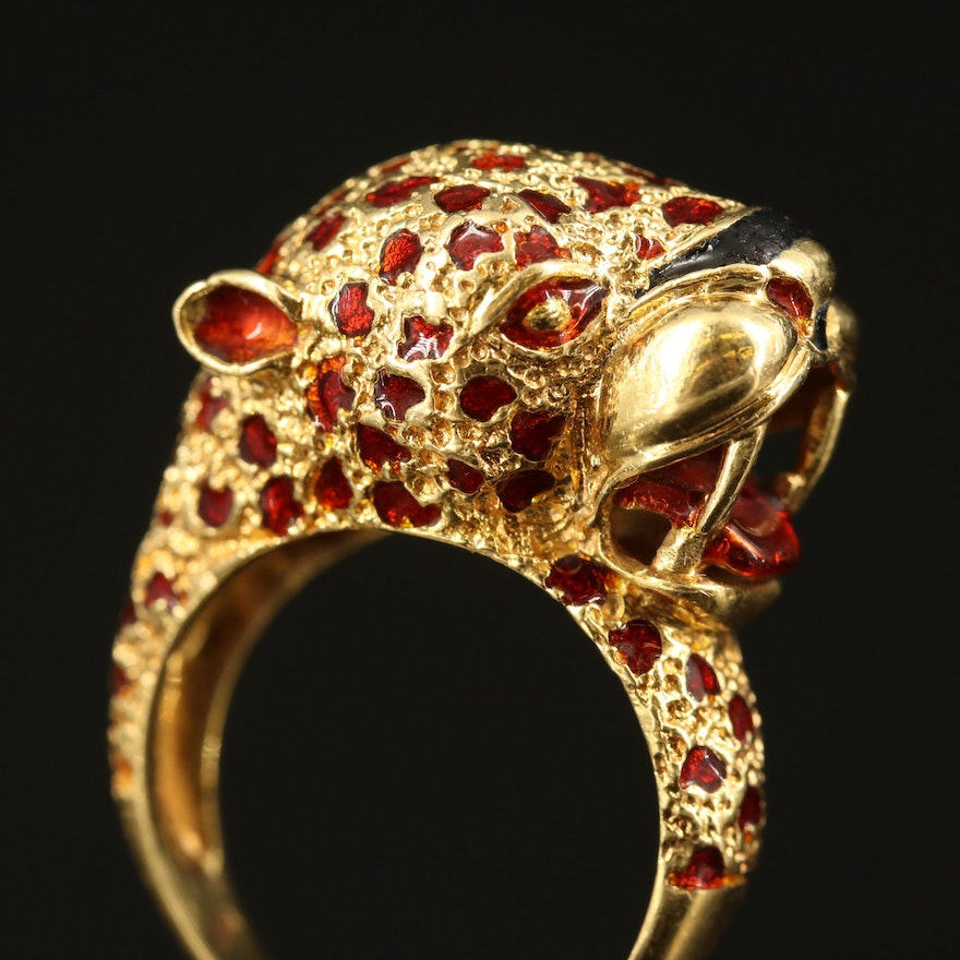 18K Enamel Feline Head Ring