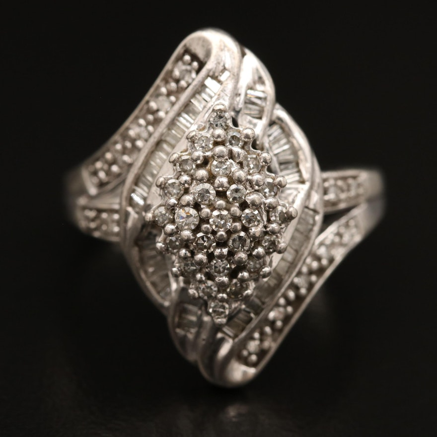 Sterling Diamond Bypass Style Ring
