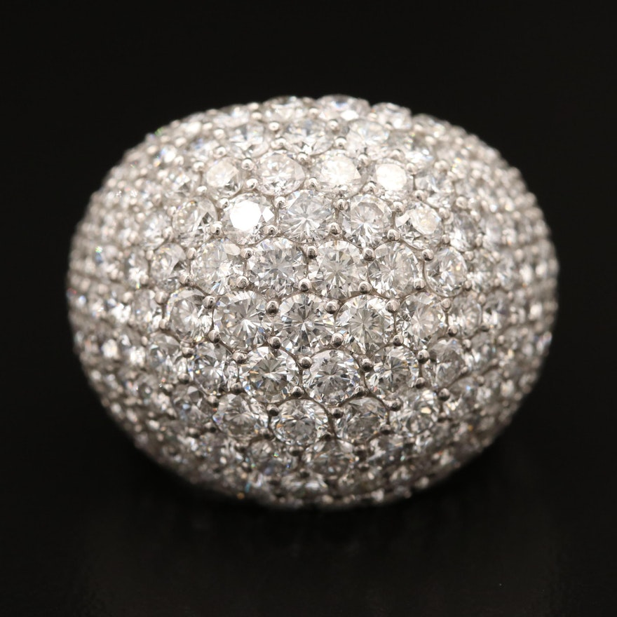 Platinum 8.01 CTW Pavé Diamond Dome Ring
