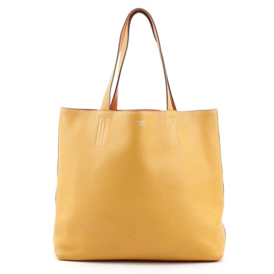 Hermès Double Sens 45cm Reversible Tote in Orange/Yellow Clemence Leather