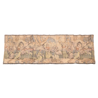 Machine-Woven Belgian Jacquard Tapestry Panel, Mid to Late 20th Century