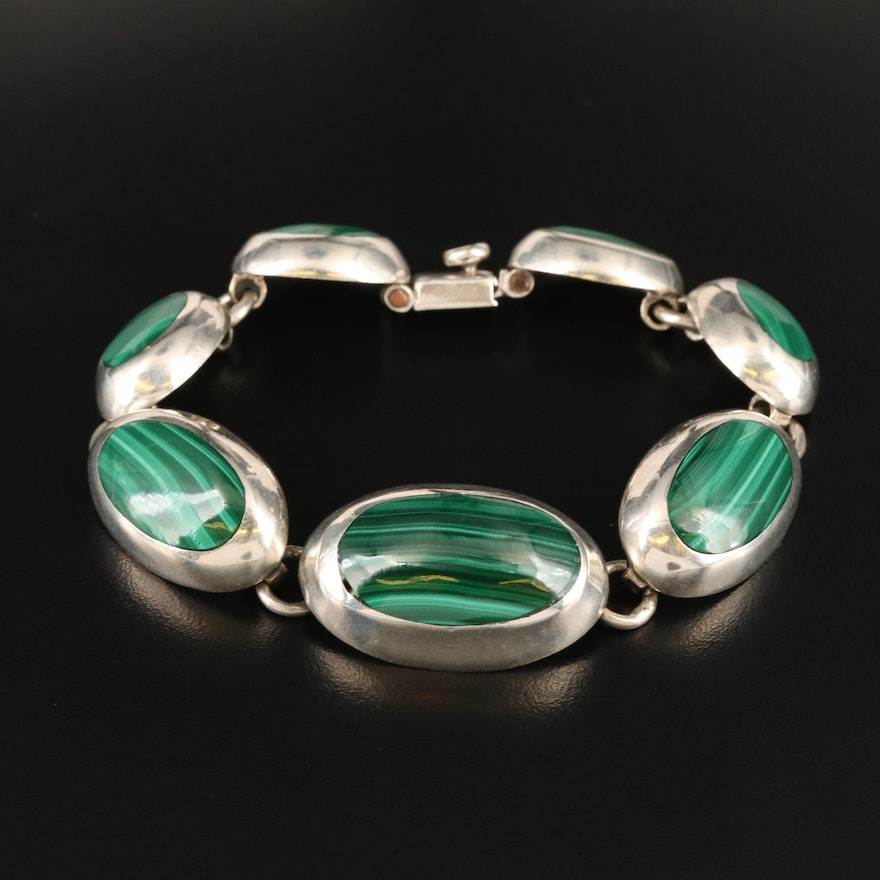 Vintage Mexican Sterling Malachite Graduated Oval Bracelet