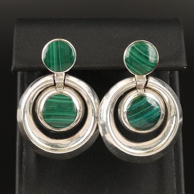 Sterling Malachite Door Knocker Earrings