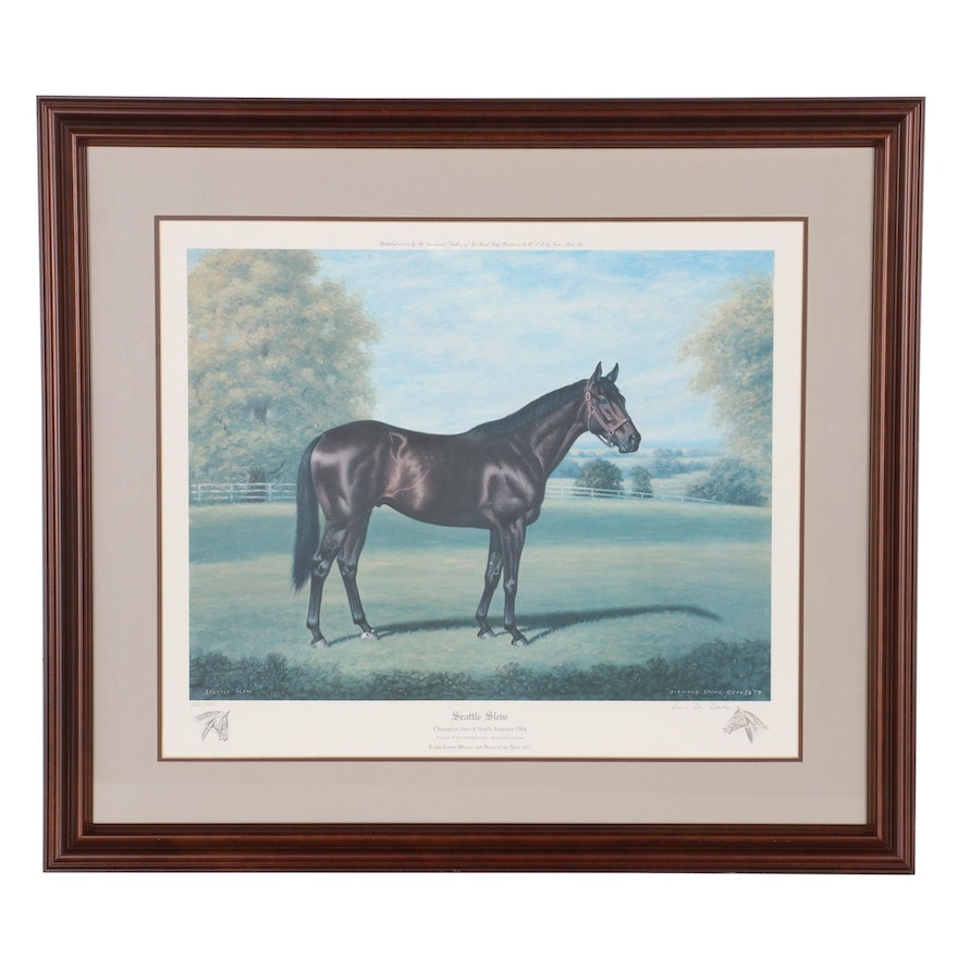 "Richard Stone Reeves Offset Lithograph ""Seattle Slew,"" 1985"