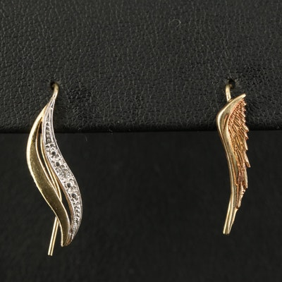 10K Wing and Diamond Single Ear Climbers