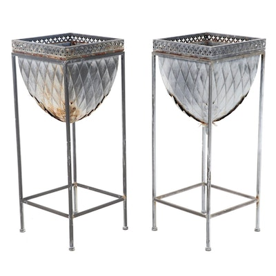 Pressed and Pierced Metal Patio Planters on Stands