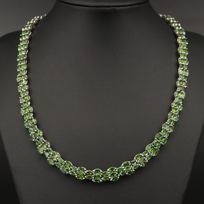 Sterling Silver Diopside Necklace
