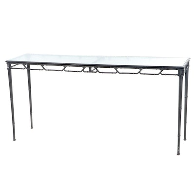 Cast Metal Faux Bamboo and Glass Top Patio Console Table