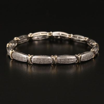 Sterling Silver Diamond Double Row Link Bracelet
