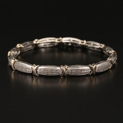 Sterling Silver Diamond Double Row Link Bracelet