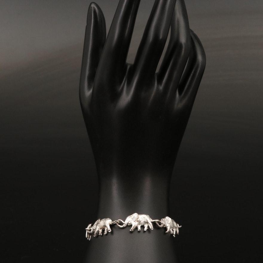 Sterling Silver Elephant Link Bracelet