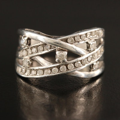 Sterling Silver Diamond Crossover Ring