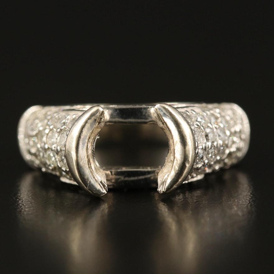 14K 1.30 CTW Diamond Semi-Mount Ring