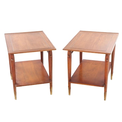 Pair of Lane Mid Century Modern Walnut Two-Tier Side Tables