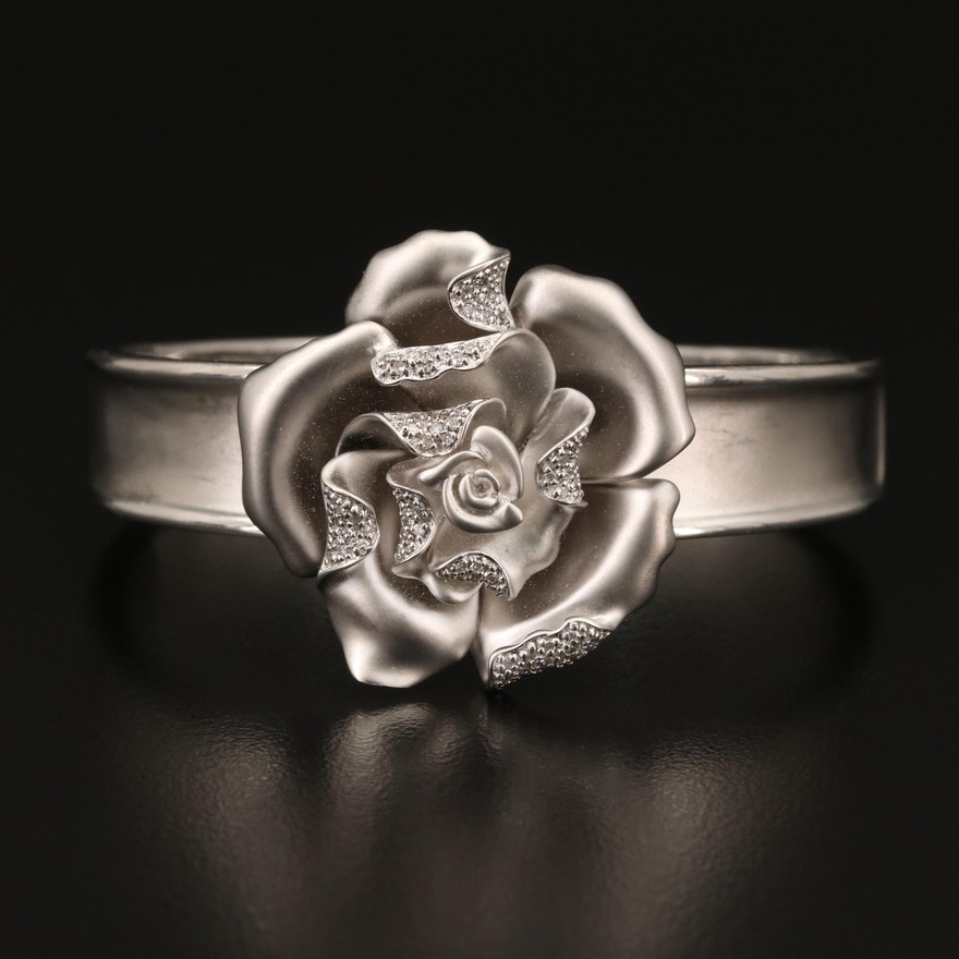 Sterling Diamond Flower Kick Cuff