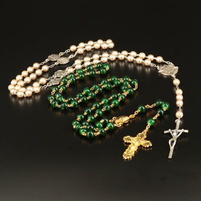 Faux Pearl and Glass Rosaries