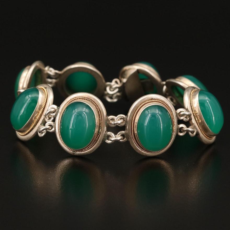 800 Silver Oval Chalcedony Panel Bracelet