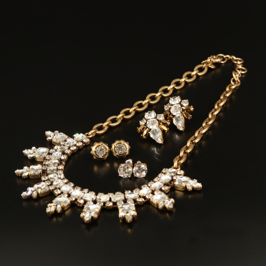 Rhinestone Jewelry Featuring J Crew Necklace and Earrings