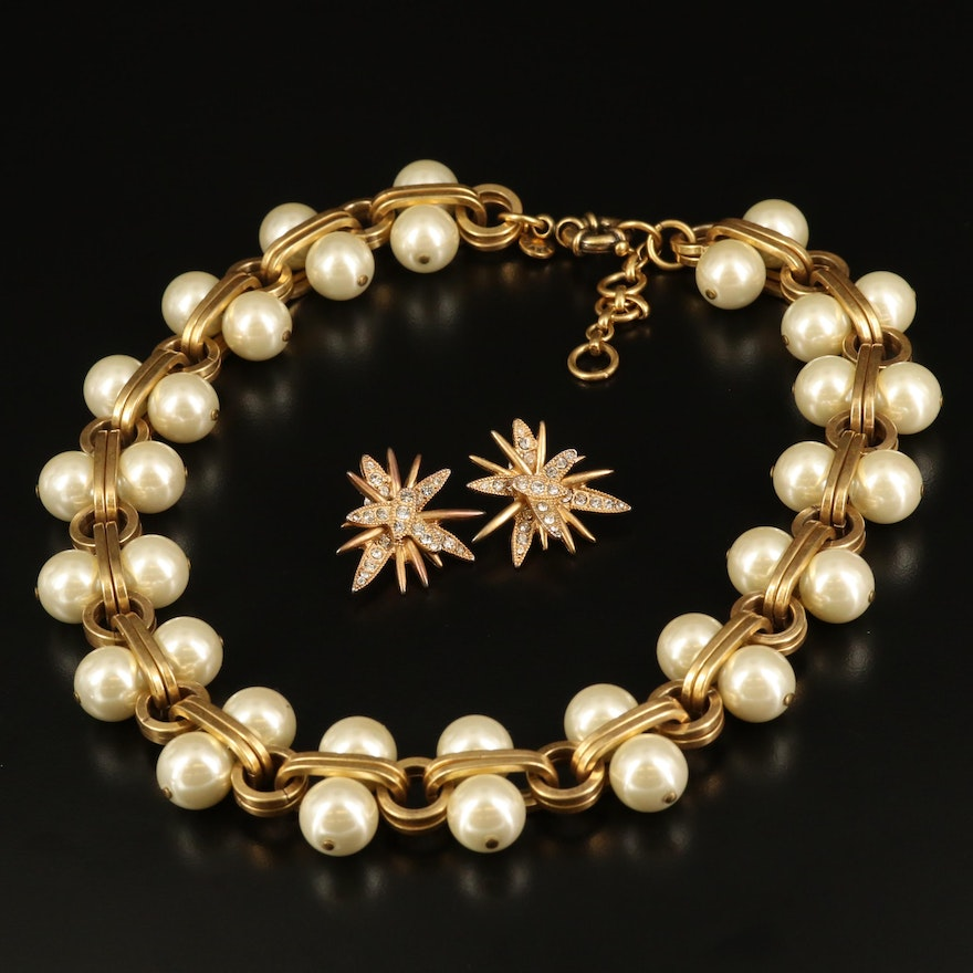 J. Crew Faux Pearl and Rhinestone Earrings and Necklace