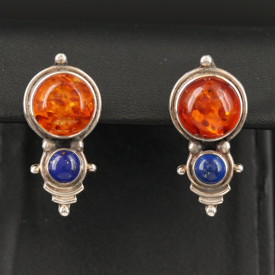Sterling Silver Amber and Lapis Lazuli Earrings