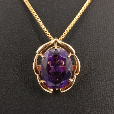 14K Amethyst Enhancer Pendant on 18K Box Chain Necklace