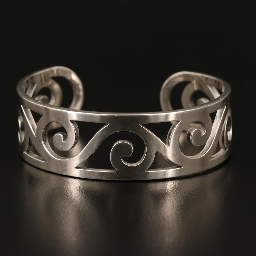 """James Avery """"Gentle Wave"""" Sterling Silver Cuff"""