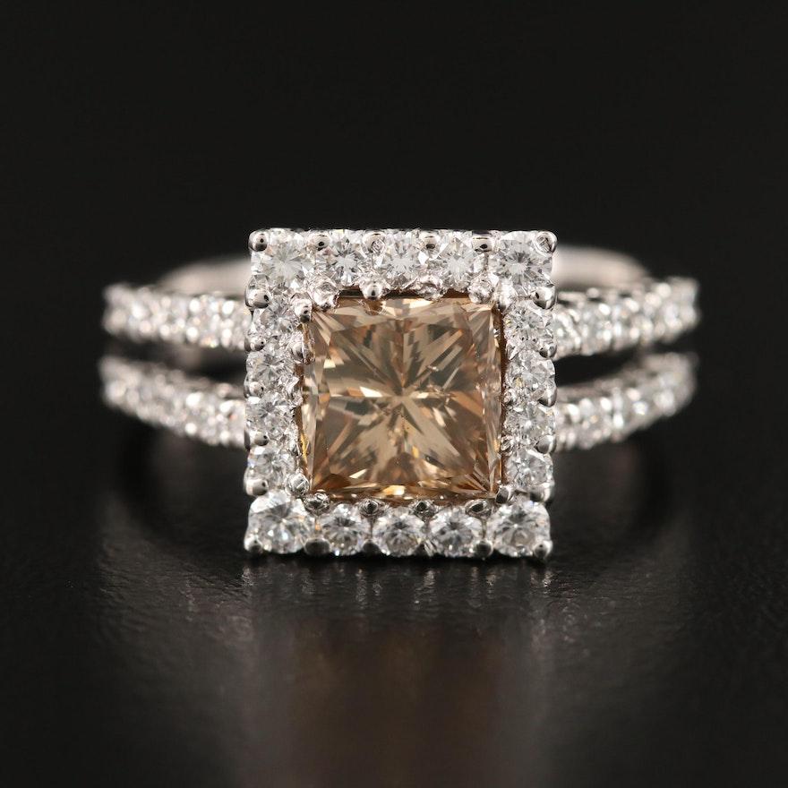 Platinum 2.84 CTW Diamond Split Shoulder Ring