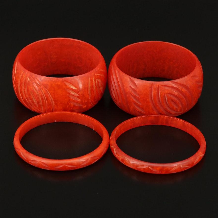 Carved Marbleized Bangles