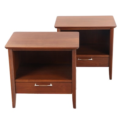 "Pair of Drexel Mid Century ""Modern"" Line Walnut Nightstands"