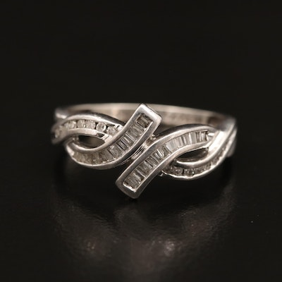Sterling Silver Channel Set Diamond Ring with Bypass Design