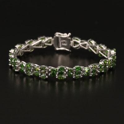 Sterling Silver Diopside Tennis Bracelet