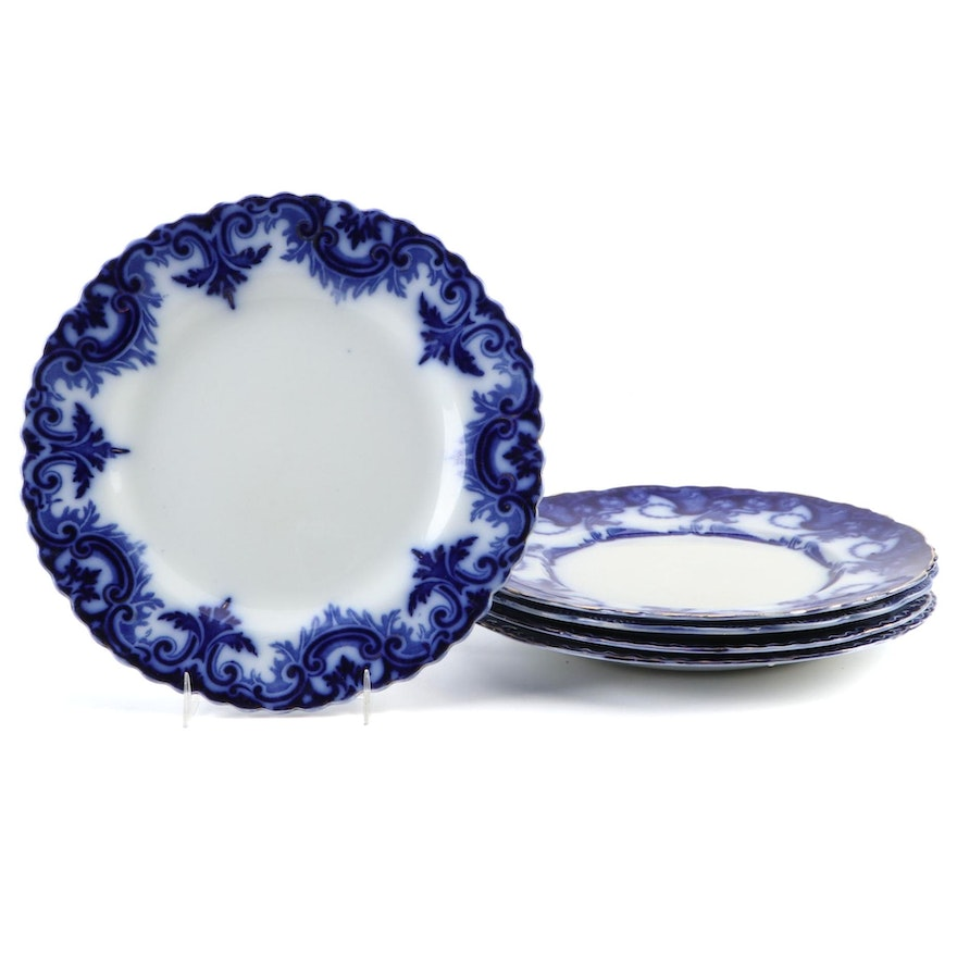 "Ridgways ""Josephine"" and Other English Flow Blue Porcelain Plates, Antique"
