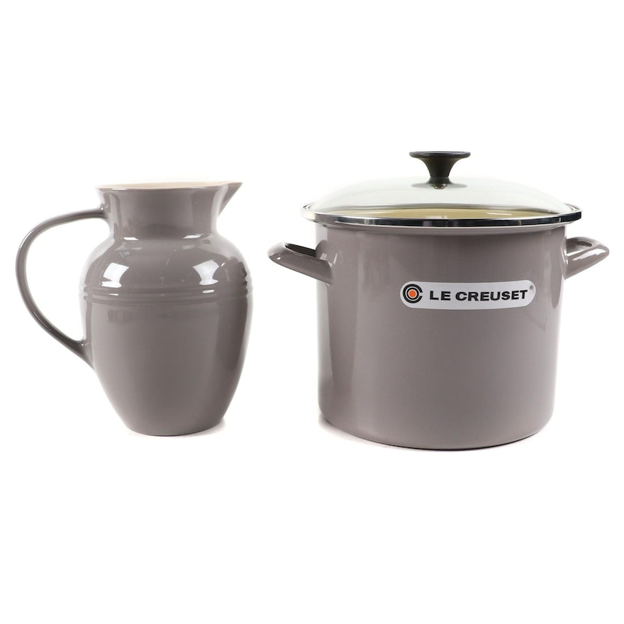 "Le Creuset 8-Quart ""Oyster"" Stockpot and ""Gris"" 2.2-Liter Pitcher"