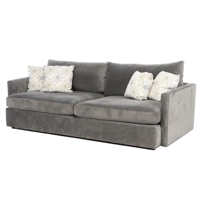 "Crate & Barrel ""Lounge II"" Charcoal-Upholstered Sofa"