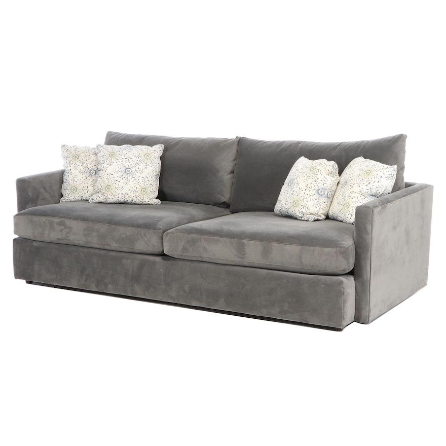 "Crate & Barrel ""Lounge II"" Charcoal-Upholstered Sofa"