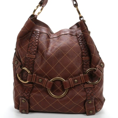 Isabella Fiore Hobo Shoulder Bag in Brown Matelassé Grained Leather