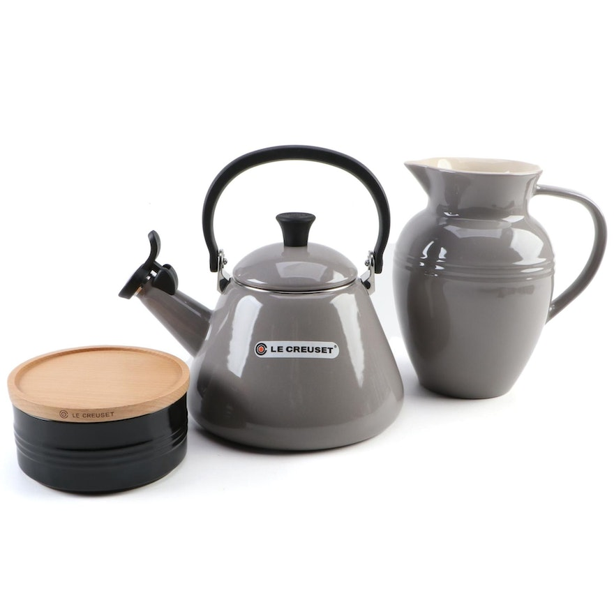 "Le Creuset Grey 1.7 Qt Enameled ""Kone"" Kettle, Grey 2.2 L Pitcher, and Black Jar"