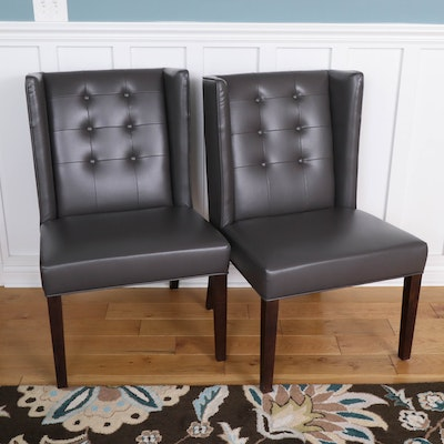 Pair of Button-Tufted Faux Leather Dining Chairs