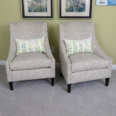Rowe Furniture Gondola Chairs in Paisley Upholstery with Decorative Pillows